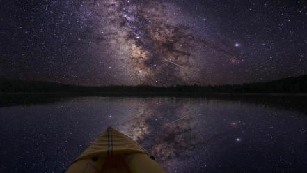 Boats milky way lakes night sky wallpaper