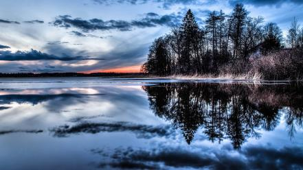 Clouds landscapes trees lakes reflections wallpaper