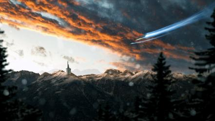 Clouds snow castles forests sunlight spaceships skies wallpaper