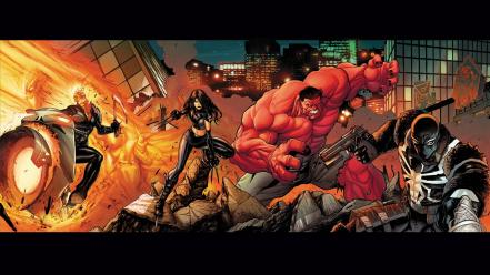 Comics ghost rider red hulk wallpaper