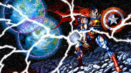 Comics superman mjolnir shields Wallpaper