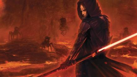 Futuristic lava lightsabers sith science fiction artwork wallpaper