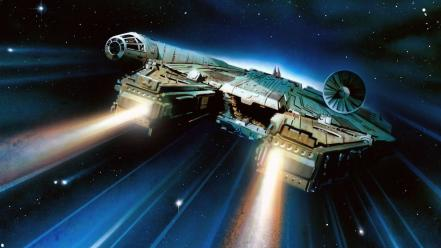 Stars futuristic spaceships millennium falcon science fiction Wallpaper
