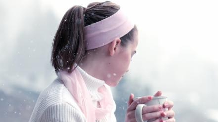 Teen cups sweater ponytails drinking hot tea wallpaper