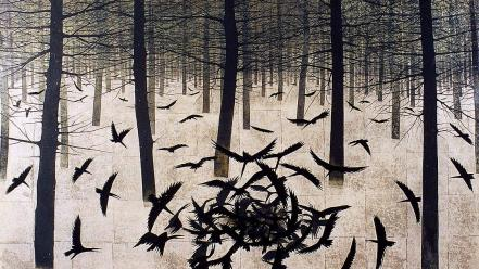 Trees forests artwork ravens matazo kayama wallpaper