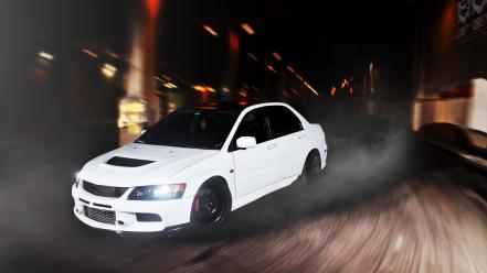 Tuned mitsubishi lancer evolution ix headlights speed wallpaper