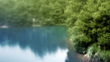 Blurred forests lakes landscapes nature wallpaper