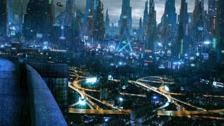 Cyberpunk science fiction nightlights cities wallpaper