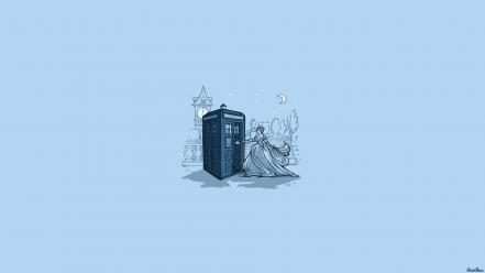Doctor who tardis tv threadless cartoons wallpaper