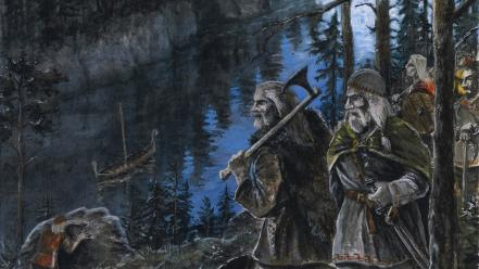 Forests vikings axes artwork warriors medieval rivers nordic Wallpaper