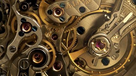 Gold gears watch man made wallpaper