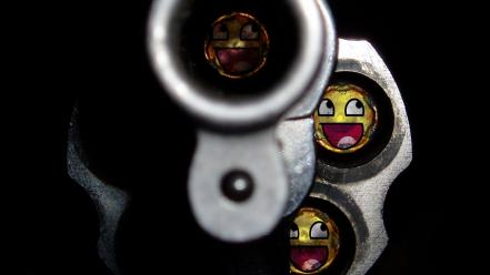 Guns funny smiley face awesome wallpaper