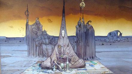 Landscapes surreal science fiction artwork moebius Wallpaper