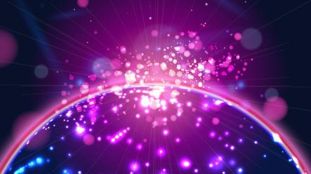 Purple vector circles graphics globe glare illumination Wallpaper