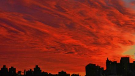 Sunset clouds cityscapes red wallpaper