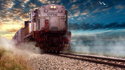 The train clouds landscapes locomotives machines wallpaper