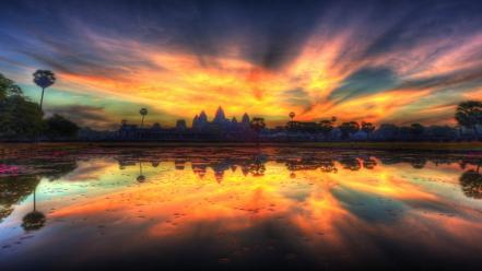 Water clouds landscapes fire lakes bangkok reflections skies wallpaper