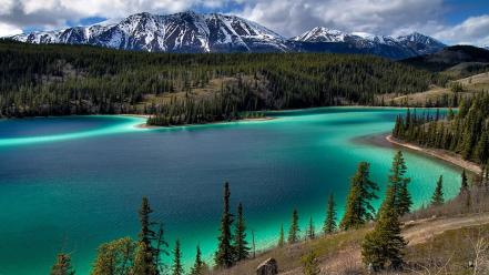 White forests lakes turquoise waters snowy peaks wallpaper