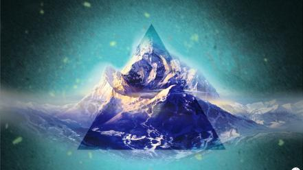 Abstract mountains outer space colors traingle shipo designs wallpaper
