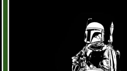 Boba fett star wars black green white Wallpaper