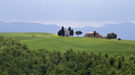 Landscapes trees houses europe italy toscana wallpaper