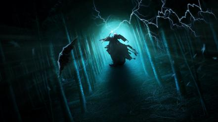 Light mage birds warlock crows magick forest wallpaper