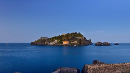 Rocks islands italy mediterranean blue skies sea Wallpaper