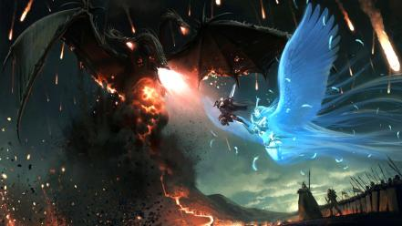 Dragons battles digital art wallpaper