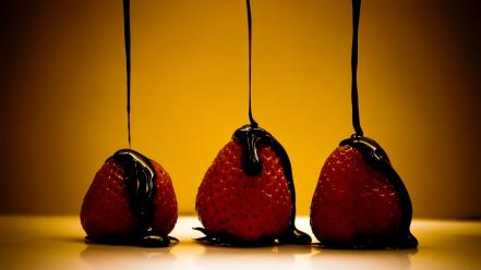 Fruits chocolate food strawberries wallpaper