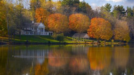 Landscapes nature lakes house wallpaper
