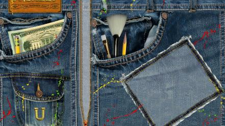 Money pocket paint brushes pencils denim clothing splatter Wallpaper