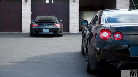 Porsche cars black jdm nissan r35 gt-r taillights wallpaper