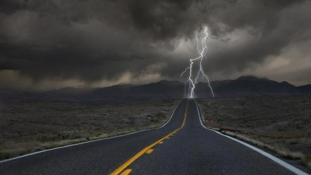 Roads colorado lightning strike view dimension door wallpaper