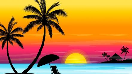 Sunset vector shadows palm trees wallpaper