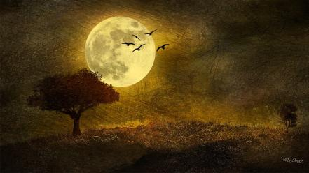 Autumn moon moonlight digital art artwork wallpaper