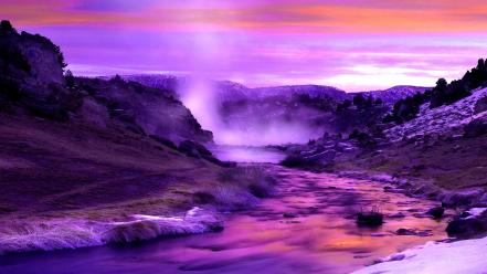 Landscapes nature winter flow riverside rivers wallpaper