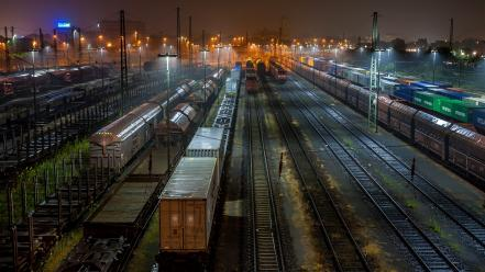 Lights buildings railroads nocturnal cities railway station wallpaper