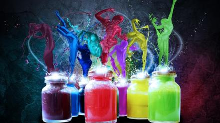 Multicolor paint digital art splashes splatter Wallpaper