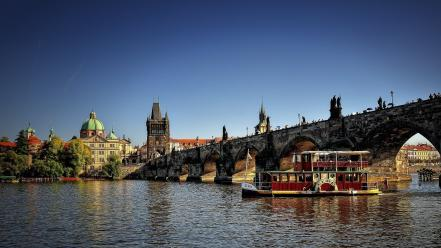 Prague czech republic historic rivers charles bridge Wallpaper