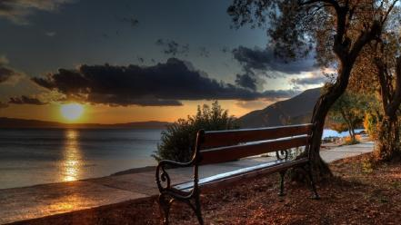 Sunset abstract bench cres wallpaper