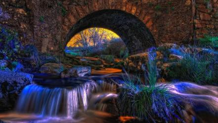 Water nature grass rocks bridges streams wallpaper
