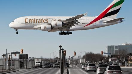 Airbus airliners a380-800 aviation cities emirates airlines wallpaper