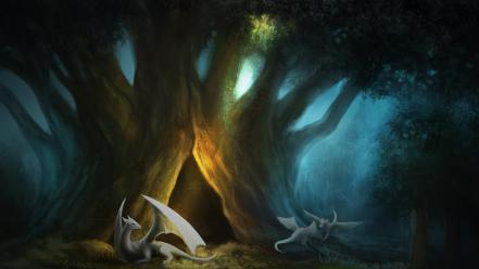 Fantasy paintings trees dragons artwork forest wallpaper