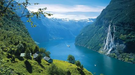 Forests hills norway silent fjord snowy peaks Wallpaper
