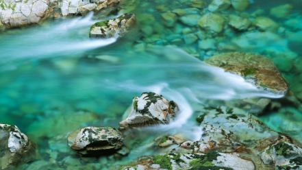 Green blue stones rivers sea rock wallpaper