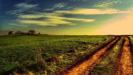Landscapes nature fields roads trails photo filters wallpaper