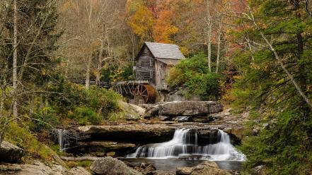 Nature autumn forests streams rivers water mill Wallpaper