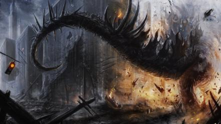 Paintings ruins fire dinosaurs fantasy art post apocalyptic Wallpaper