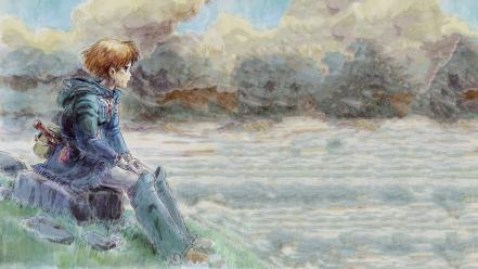 Sitting nausicaa of the valley wind water colors wallpaper