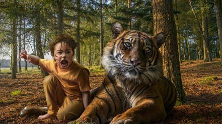 White yellow forests animals tigers boys upscaled Wallpaper
